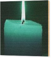 Teal Lit Candle Wood Print