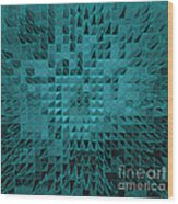 Teal Quilt Wood Print