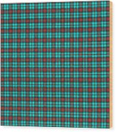 Teal Red And Black Plaid Fabric Background Wood Print