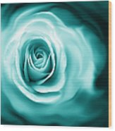 Teal Rose Flower Abstract Wood Print