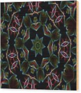 Teal Star Burst Wood Print