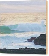 Teal Wave On Golden Waters Wood Print