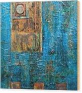 Teal Windows Wood Print by Debi Starr