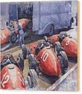 Team Ferrari 500 F2 1952 French Gp Wood Print by Yuriy  Shevchuk