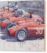 1956 Team Lancia Ferrari D50 Type C 1956 Italian Gp Wood Print