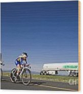 Team Time Trial Chasing A Tanker Truck Wood Print