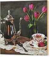 Tea'n Tulips Wood Print