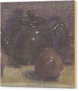 Teapot And Apples Wood Print