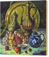 Teapot And Brass Vases Wood Print