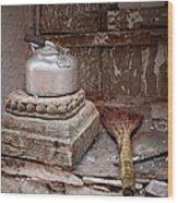 Teapot And Broom Wood Print