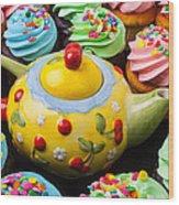 Teapot And Cupcakes  Wood Print