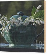 Teapot And Lily Of The Valley Wood Print