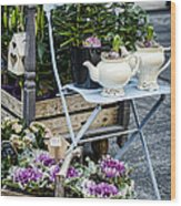 Teapots And Flowers Wood Print
