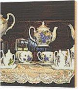 Teapots On Grundge Wood Print