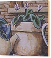 Teapots On Parade Wood Print