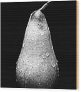 Tears Of A Sad Pear In Silver Wood Print