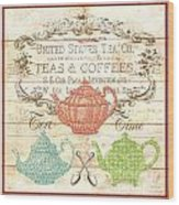 Teas And Coffees Sign Wood Print
