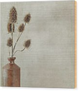 Teasels In Stone Jar Wood Print
