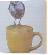 Teatime Titmouse Wood Print