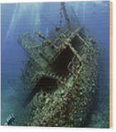 Technical Divers On The Giannis D In The Red Sea  Egypt Wood Print