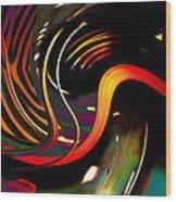 Techno  Neon Stripes Wood Print