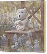 Teddy Bear And Texas Bluebonnets Wood Print