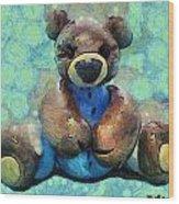 Teddy Bear In Blue Wood Print