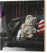 Teddy Bear Ridin' On Wood Print by Christine Till