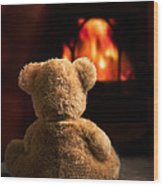 Teddy By The Fire Wood Print