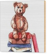 Teddy On Books Wood Print