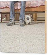 Teen Boy In Bedroom Wood Print