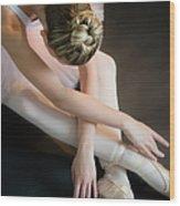 Teenage 16-17 Ballerina Bending Over Wood Print