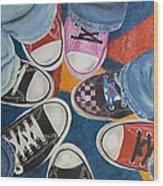 Teens In Converse Tennies Wood Print