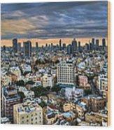 Tel Aviv City Skyline  Wood Print