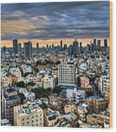 Tel Aviv Skyline Winter Time Wood Print