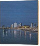 Tel Aviv The Blue Hour Wood Print by Ron Shoshani