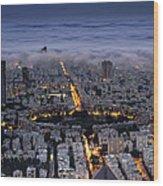 Tel Aviv Under Fog  Wood Print