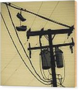 Telephone Pole And Sneakers 1 Wood Print