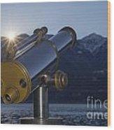 Telescope And Sunrise Wood Print
