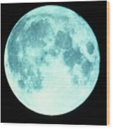 Telescope Photo Of Full Moon From Earth Wood Print