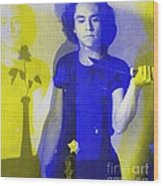 Teller / Early Shadows - Blue And Yellow  Wood Print