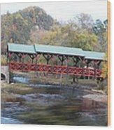 Tellico Bridge In Fall Wood Print by Regina McLeroy