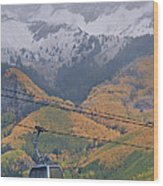 Telluride Winter Over Fall Wood Print