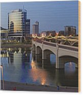 Tempe Town Lake Pano Wood Print by Dave Dilli