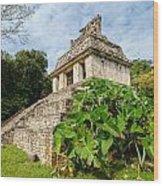 Temple And Foliage Wood Print