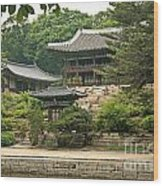 Temple By Lake And Forest Seoul South Korea Wood Print