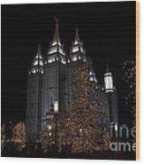 Temple Christmas Lights Wood Print