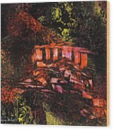 Temple In The Woods Wood Print