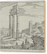 Temple Of Castor And Pollux And The Basilica Of Constantine Wood Print