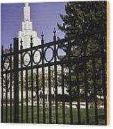 Temple Of Idaho Falls Wood Print